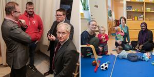 Lars Handegard (röd tröja) och Hans Gleimar (närmast kameran) fick inget gehör av majoriteten i kommunstyrelsen i sina krav om att stoppa stängningen av öppna förskolan.