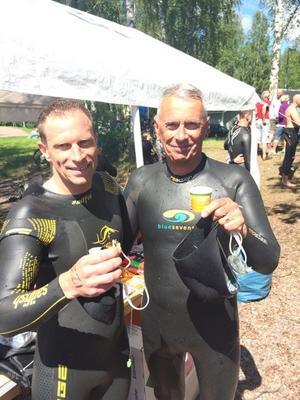 Ulf med sonen Jan Brangefält i Falun på Runn Open Water.