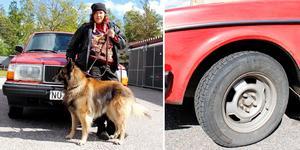 Däcket som Maria Johansson från Skutskär tog är taget i beslag, men hon har hittat alla sina däck i skrothögar säger hon.