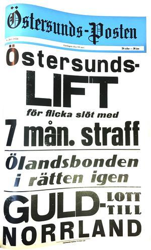 Östersunds-Postens första löpsedel 15 november 1958.