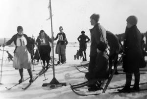 Skidtävling intill Bodaborg. Bild: Ur ett album som förvaras på regionarkivet i Härnösand