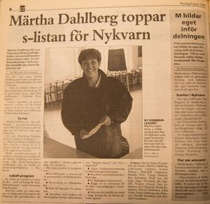 Märtha Dahlberg var den första ordföranden för kommunfullmäktige i Nykvarn.
