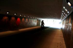 I Vasatunneln mellan Vasatorget och Svartån inträffade i dag en cykelolycka.
