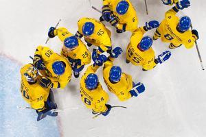 Utespelarna i Tre Kronor samlas runt målvakten Viktor Fasth efter segern mot Finland i den sista gruppspelsmatchen. Bild: Joel Marklund/Bildbyrån.