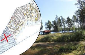 Här vid grönområdet på Främby udde vill de nya ägarna Runn Resort AB bygga smågrupper av fristående hus. Samtidigt fick de nej till att köpa in mer mark på området. Obs. Bilden är ett montage. Foto: Arkiv/Aleksandra Stålfors/Falu kommun