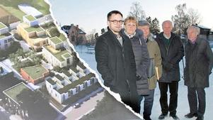 Bygg hellre en ny skola på tennisbanorna än bostäder, tycker grannarna på Fridnäs. Från vänster Jonas Selmeryd, Anna-Lena Rosenberg,  Bo Vesterberg, Uwe Rosenberg och Rolf Falkland.