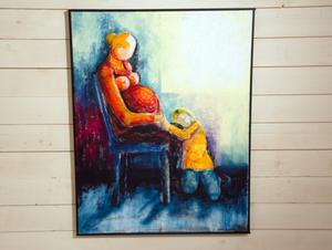 Ömsint bold av mor och barn  – en av de mest färgrika bilderna i utställningen.