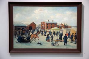 Det finns en uppgift att Olof Nilsson har målat 17 motiv från Knåda marknad, både utomhus och inomhus. På målningen syns gården Olpas, som John Ondahl äger.