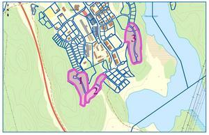 I område 2 vill kommunen att det ska bli radhus medan det ska bli fristående hus, alltså villor, i område 1 och 3. Skiss: Södertälje kommun