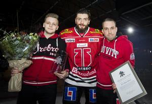 För två veckor sedan fick Nick Ebert motta priset som Örebro Hockeys mest värdefulla spelare den här säsongen av supportrarna i 14-3. Arkivfoto: Johan Bernström/Bildbyrån