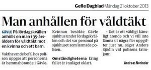 Gefle Dagblad den 21 oktober. Peter satt anhållen.