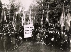 Bilden är från förstamajdemonstrationen 1890 i Sundsvall, där Axel Danielsson var huvudtalare.