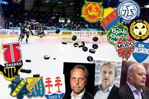 Jörgen Lindgren, vd SHL, Sonny Lundwall, ligachef hockeyallsvenskan, och Christer Siik, sportchef Leksands IF, är alla positiva till det nya avtalet.Foto: Bildbyrån (montage Hockeypuls)