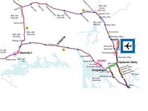 Så skulle tågen från Västerås till Arlanda gå.Bild, Trafikverket via skribenten