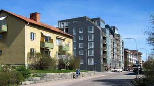Skribenten anser att det råder en bygghysteri i Västerås. Bilden: ett aktuellt förslag till nya hus på fem till sju våningar vid Hammarbygatan, vid Coop Oxbacken, ett projekt som vållat protester. Illustration: Tovatt architects