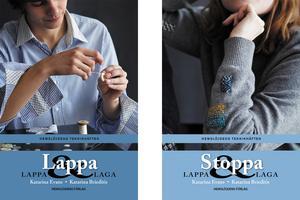 Katarina Evans och Katarina Brieditis nya häften Lappa och Stoppa ingår i Hemslöjdens förlags teknikhäften i serien Lappa &laga. De är båda på 48 sidor. Foto: Karin Björkquist