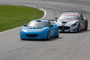 Richard Göranssons sista race på elitnivå (?), i en Lotus Evora GT4 tillsammans med prins Carl Philip på Knutstorp i maj 2018. Arkivfoto: Micke Fransson