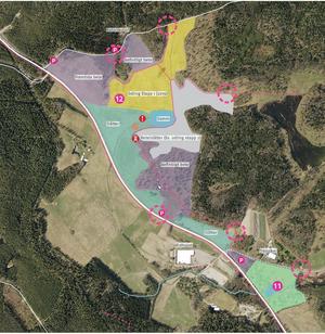 Så här skulle Lina naturreservat med den nya jordbruksparken kunna se ut, fördelat på olika sorters verksamhet/syften. Skiss: Södertälje kommun