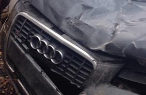 Maria Wistis bil blev helt obrukbar efter olyckan. Foto: Privat.