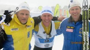Dala-Järnas kända stafettlag; Lars Håland, Gunde Svan och Sven-Erik Danielsson.