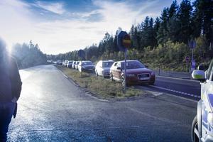 Kilometerlånga köer bildades efter olyckan.