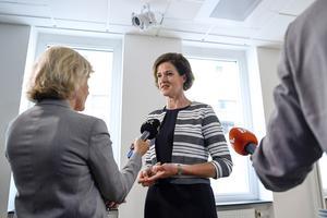 Anna Kinberg Batra (M) håller pressträff i Moderaternas kansli i Stockholm.