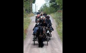 Forkörarna på väg till Flögforsen.FOTO:LEIF OLSSON