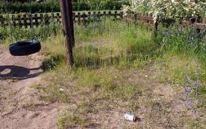 Ogräs och gamla ölburkar ligger och skräpar intill gungorna.FOTO: ANGELICA LINDVALL