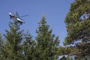 Spaning från luften. Polisen har bland annat letat efter 81-åringen med helikopter.
