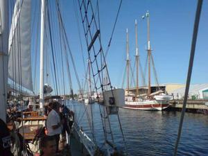 I dag på förmiddagen seglade av kavalkad av anrika gamla segelfartyg in till kaj för att delta i marinfestivalen.