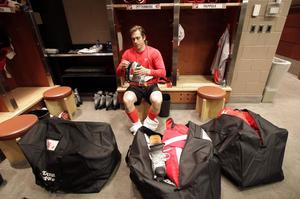 Zetterberg i omklädningsrummet några dagar efter att Detroit förlorat i Stanley cup-finalen 2009.