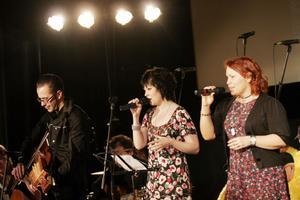 Folkpopgruppen Sarek var en av höjdpunkterna under kvällen, de sjöng även tillsammans med Nordanstigs manskör.