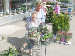Laila Westling och Kerstin Höglund laddar för trädgårdsloppis.