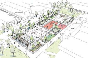 Så här ser förslaget på den kommande parken. Tunabyggen kommer ordna träffar med de boende där de får lämna förslag. Foto: Stora Tunabyggen AB