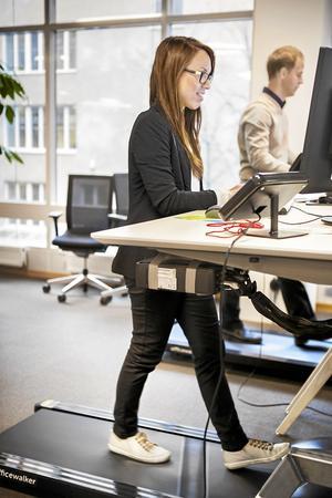 Gåband.  Flera studiebesök har gått till Vasakronan i Stockholm, som bland annat har skrivbord vid gåband. Pressfoto: Vasakronan