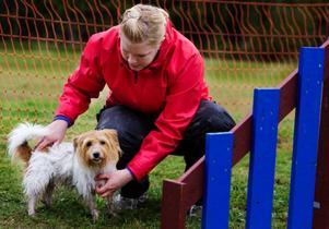 Erika Högren försöker lugna ner sin hund Ebba innan det är dags att prova på agility.