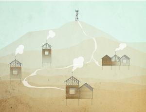 Så här ser konceptskissen för loftstugorna på Åsberget ut.    Copyright: Hanna Michelson
