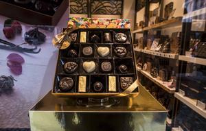 Skyltning hos chokladtillverkaren Godviva.