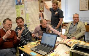 Förebereder Diggiloo. Torgny Söderberg, Anders Butta Börjesson, Lasse Holm, Patrik Krall och Mats Runqvist. BILD: ANDERS ALMGREN