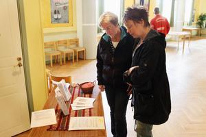 På flera bord låg information om ämnet. Både för besökarna att läsa på plats och för att ta med sig hem. På bilden syns Greta Persson och Lena Hedman.