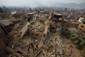 Raserade byggnader i Bhaktapur nära Kathmandu i Nepal.