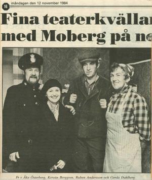 Så här startade Teaterspegeln 1984 med skådespelarna Åke Österberg, Kerstin Berggren, Rubin Andersson, Gerda Dahlberg. Gruppen leddes av Birgit Andersson Tjäder
