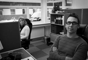 Fick nytt jobb direkt. Hans Jonsson och Lena Sahlin blev uppsagda från sina gamla jobb, men fick i stället jobb på det nya nationella försäkringscentret som nu finns i Haga, Sundsvall.