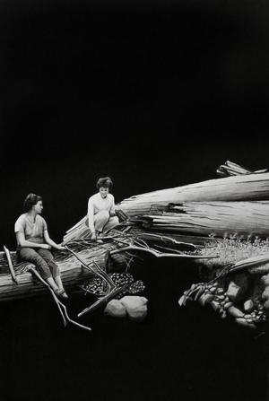 Tomma ytor möter gestaltningar i Kihlbaums bilder.