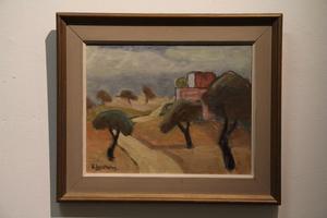 Ragnar Engström flyttade till sitt fritidshus i Fullsborn mot slutet av sitt liv. På 1950-talet målade han detta landskap från Ibiza.