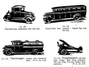 De färgglada leksaksbilarna av gjutjärn står högt i kurs hos dagens samlare. De tillverkades under några år runt 1930 och marknadsfördes så här i Koglund & Olsons katalog.