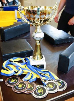 Pokaler och medaljer med den speciella SM-loggan, där man fått med både de svenska och jämtländska färgerna, står klara att delas ut.