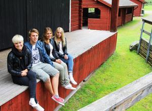 Josefin Einarsson, Alexander Styverts, Isabella Larsson och Linda Jonsson på scenen där det i morgon visas utomhusbio.