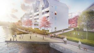 Små bryggor vid Svartån finns i Arosekens visioner för området nära Karlslunds servicehus. Fler bostäder ska också byggas. till höger skymtar Karlslunds herrgård,.