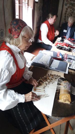 Ann-Marie Bergman knypplar Delsbospets.